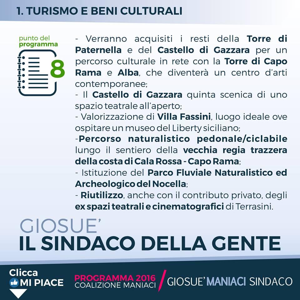 La scheda del programma del sindaco Giosuè Maniaci per le elezioni di giugno