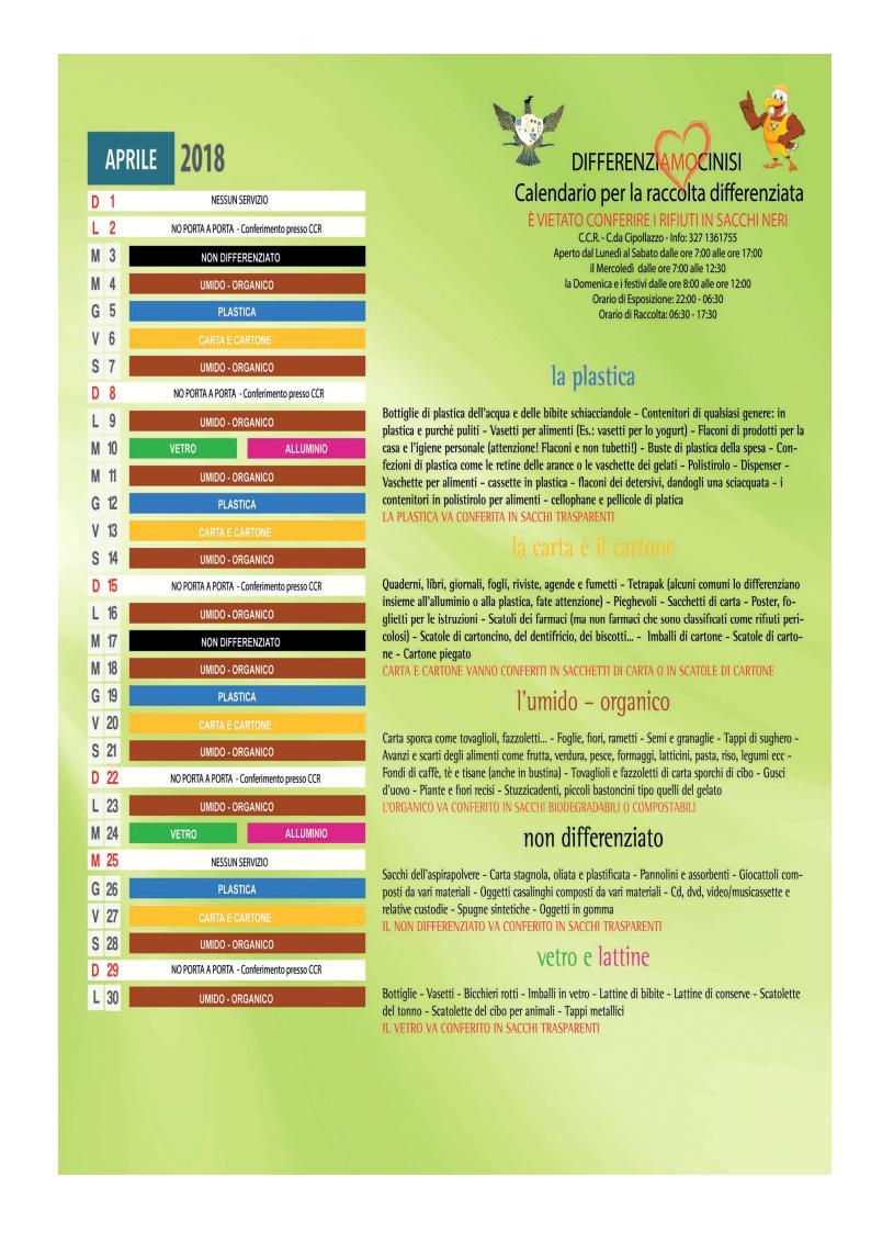 Calendario Raccolta Differenziata Cinisi 2019.Cinisi Calendario Raccolta Differenziata Aprile 2018 Il