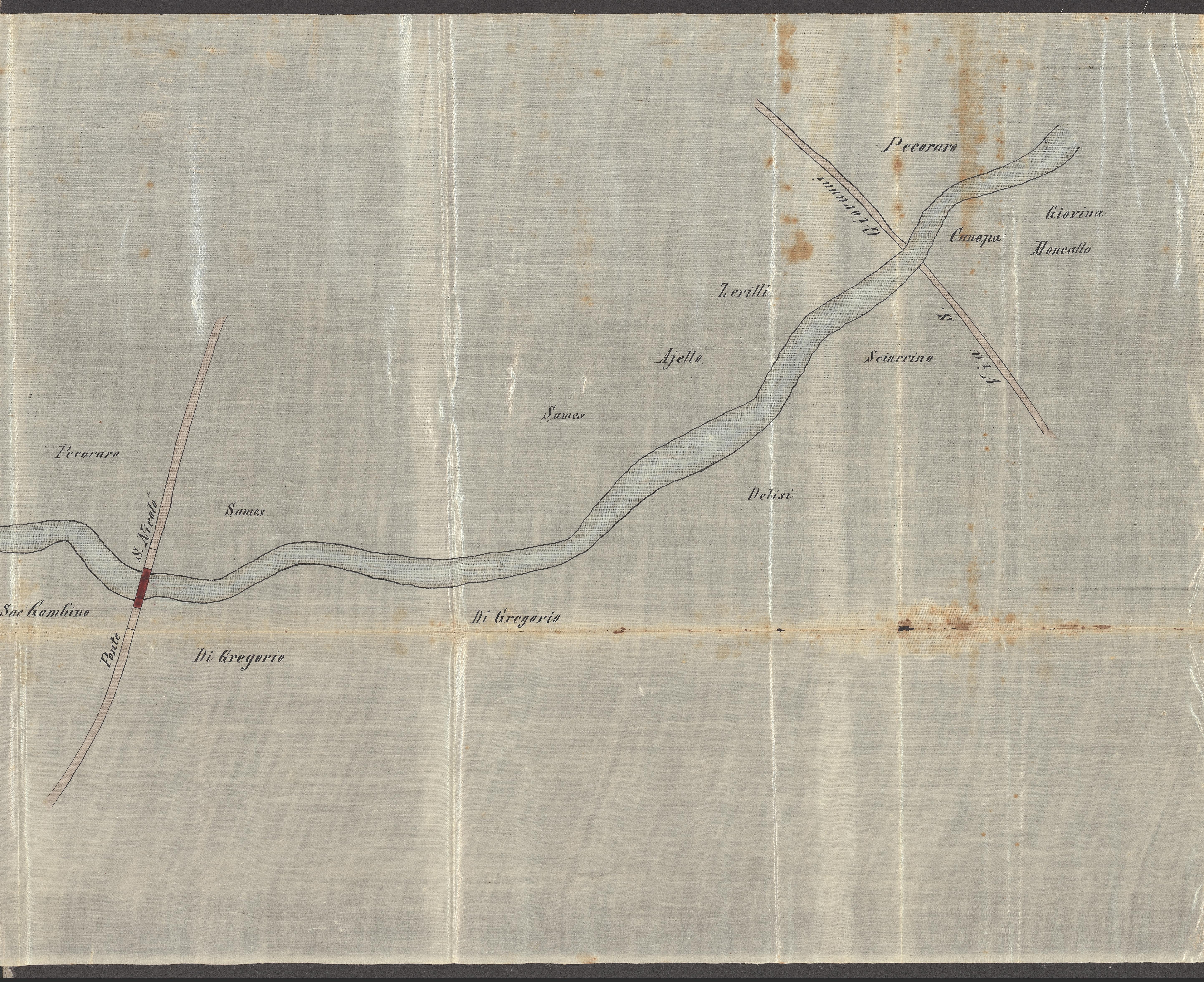 Particolare della pianta del sistema idrografico del torrente San Vincenzo. 1874. ASP. Riproduzione vietata