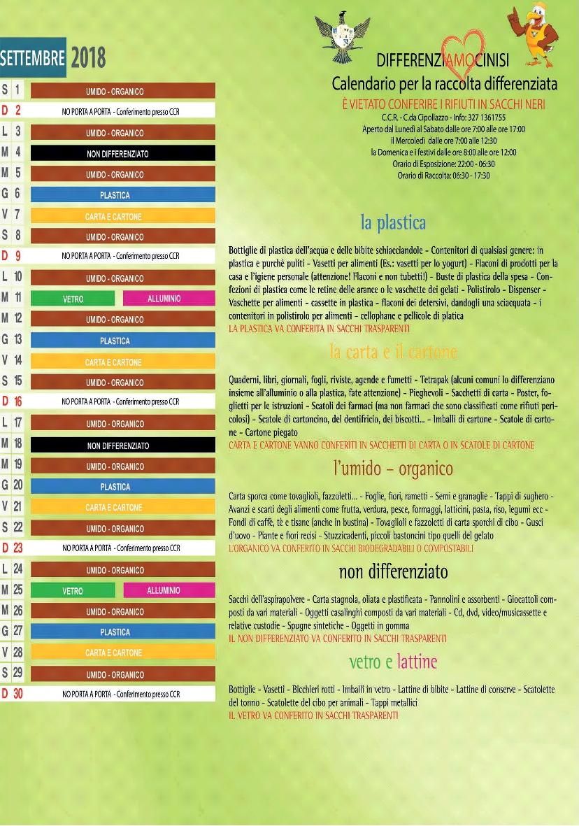 Calendario Raccolta Differenziata Carini 2019.Cinisi Cestini Differenziata E Calendario Settembre 2018