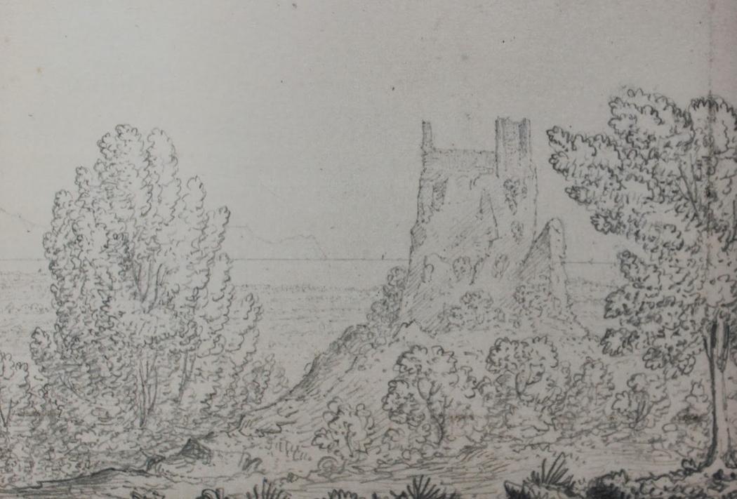 Spencer J. A. Compton: Castellaccio di Partinico, matita e acquerello, 1823